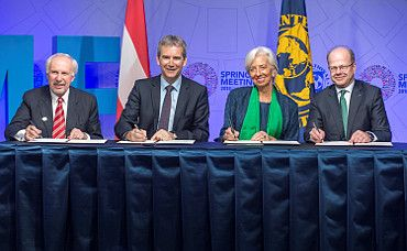 Governor Ewald Nowotny, Minister of Finance Hartwig Löger,  Managing Director of the IMF Christine Lagarde, Vice-Governor Andreas Ittner