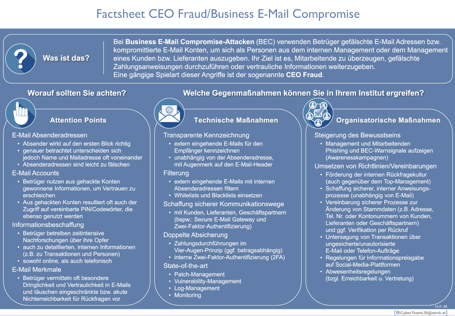 Factsheet CEO Fraud/Business-E-Mail Compromise
