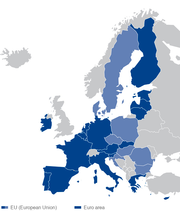Map of the European Union and the Euro area